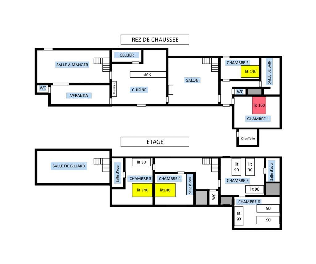 Plan du gîte Chantecler Azay-le-Rideau